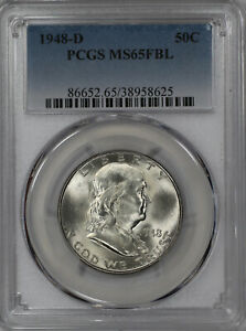 1948 D FRANKLIN HALF DOLLAR 50C PCGS MS 65 FBL UNCIRCULATED FULL BELL LINES  625