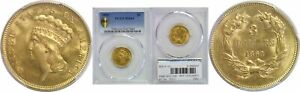 1860 $3 GOLD COIN PCGS MS 64
