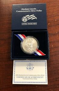 2009 $1 ABRAHAM LINCOLN UNCORCULATED COMMEMORATIVE SILVER DOLLAR WITH OGP & COA