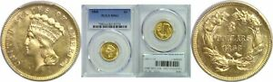 1868 $3 GOLD COIN PCGS MS 61