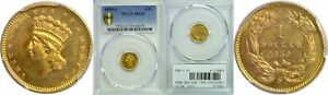 1859 S $1 GOLD COIN PCGS MS 61