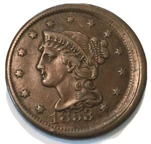 1853 BRAIDED HAIR LARGE CENT OFF CENTER MISS STRIKE WAY OFF CENTER