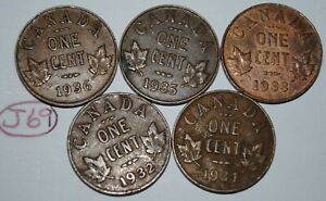 Canada 1932 1933 1934 1935 1936 George V 1 Cent Canadian Copper Coins