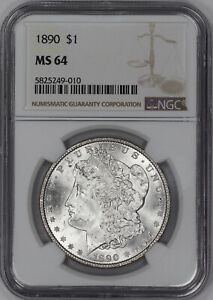 1890 MORGAN SILVER DOLLAR $1 NGC CERTIFIED MS 64 MINT STATE UNCIRCULATED  49010