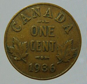 1936 CANADIAN ONE CENT CANADA 1 CENT PENNY