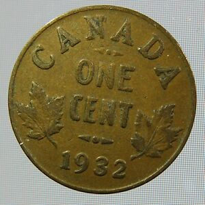 1932 CANADIAN ONE CENT CANADA 1 CENT PENNY