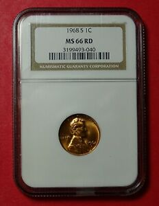 1968 S LINCOLN MEMORIAL CENT CERTIFIED MS 66RD BY NGC A BEAUTIFUL COIN