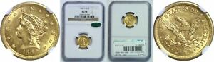 1868 S $2.50 GOLD COIN NGC AU 58 CAC