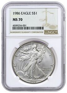 1986 AMERICAN SILVER EAGLE NGC MS70  GEM