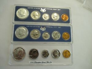 1965 1966 1967 US SMS  SPECIAL MINT SET  SILVER KENNEDYS ACRYLIC HOLDERS