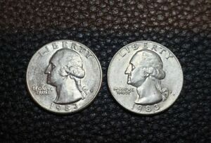 1983 P & D WASHINGTON QUARTER SET   TWO QUARTERS   EXCELLENT CONDITION