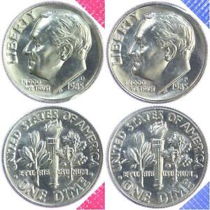 1984 P /& D Roosevelt Dime Choice Unc in Mint Cello from Mint Set