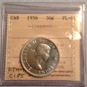 1956 CANADA  ELIZABETH II 50 CENTS  ICCS GRADED PROOF LIKE PL  MINT STATE