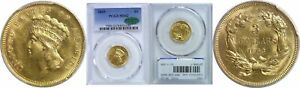 1863 $3 GOLD COIN PCGS MS 62 CAC
