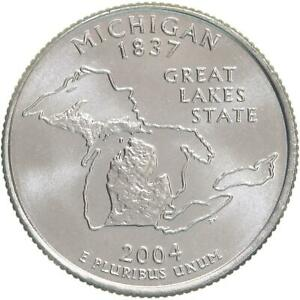 2004 D STATE QUARTER MICHIGAN CHOICE BU CN CLAD US COIN
