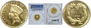 1869 $3 GOLD COIN PCGS MS 63