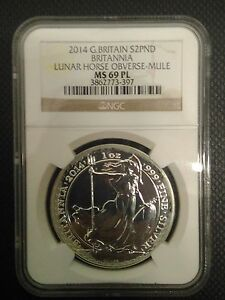 Click now to see the BUY IT NOW Price! BRITANNIA MULE ERROR W/ LUNAR HORSE OBVERSE 2014 1 OZ SILVER COIN   NGC MS69 PL