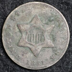 1851 THREE CENT SILVER PIECE CHOICE G  E173 RCT