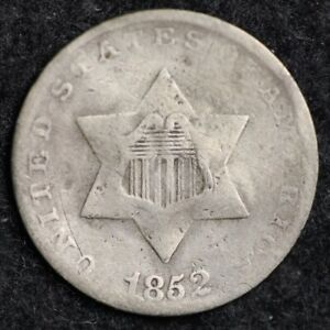 1852 THREE CENT SILVER PIECE CHOICE  E178 RCT