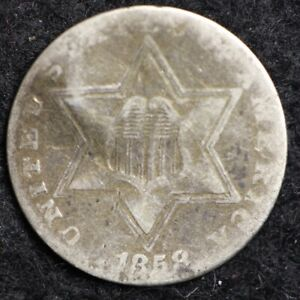 1858 THREE CENT SILVER PIECE CHOICE  E180 JCT