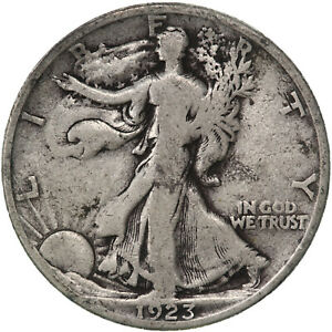 1923 S WALKING LIBERTY HALF DOLLAR 90  SILVER FINE FN