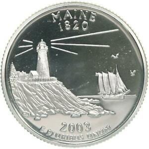 2003 S STATE QUARTER MAINE GEM PROOF DEEP CAMEO CN CLAD COIN