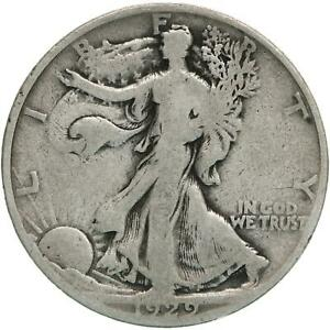 1929 D WALKING LIBERTY HALF DOLLAR 90  SILVER GOOD VG