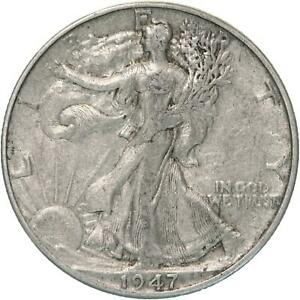 1947 D WALKING LIBERTY HALF DOLLAR 90  SILVER FINE VF