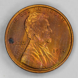 1914 LINCOLN WHEAT CENT 1C CHOICE BU BRILLIANT UNC RB RD SPOT   NEAT COLOR  2364