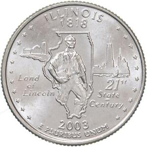 2003 D STATE QUARTER ILLINOIS GEM BU CN CLAD US COIN