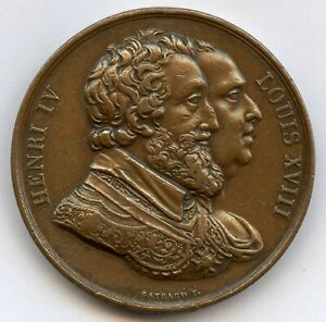 FRANCE HENRI IV AND LOUIS XVIII TO 1820 RECOVERY DE LA STATUE MEDAL 33MM 20GR