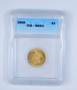 MS63 1859 INDIAN PRINCESS HEAD THREE DOLLAR GOLD PIECE   GRADED BY ICG  9633