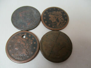 4  US LARGE CENT PENNY COIN CENTS COINS 1817 1838 1845 1852 LOW GRADE