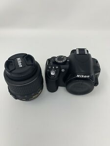 NIKON D D3100 14.2MP DIGITAL SLR CAMERA   BLACK  KIT W/ AF S DX VR 18 55MM LENS