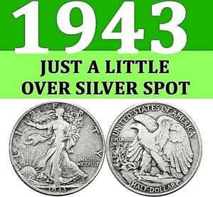 1943 P WALKING LIBERTY USED HALF DOLLAR AT A LITTLE ABOVE SILVER SPOT. USED
