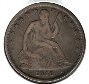 1840 O SEATED LIBERTY SILVER HALF DOLLAR STRONG GOOD NICE DETAIL  C3716