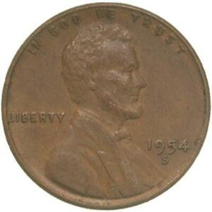 1954 S LINCOLN WHEAT CENT EXTRA FINE PENNY XF