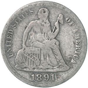 1891 S SEATED LIBERTY DIME 90  SILVER FINE REVERSE SCRATCHES SEE PICS E308