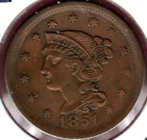 1851 N 20 BRAIDED HAIR LARGE CENT GRADES CHOICE ALMOST UNCIRCULATED  C3603