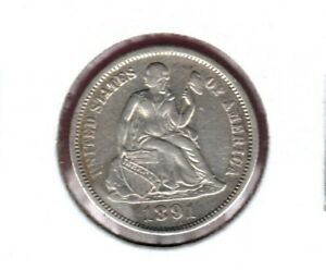 1891 SILVER SEATED LIBERTY DIME GRADES ALMOST UNCIRCULATED   C3464