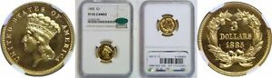Click now to see the BUY IT NOW Price! 1885 $3 GOLD COIN NGC PR 65 CAMEO CAC