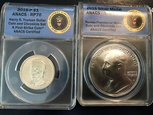HARRY TRUMAN CHRONICLES COIN SET ANACS RP70 REVERSE PROOF FIRST STRIKE 2015P