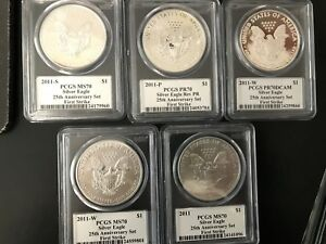 2011 SILVER EAGLE 25TH ANNIVERSARY SET FIRST STRIKE MERCANTI PCGS ALL 70