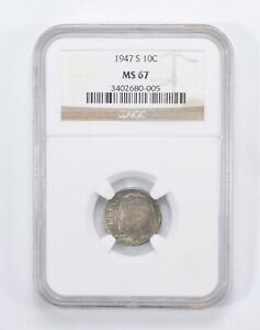 MS67 1947 S ROOSEVELT DIME   TONED   GRADED BY NGC  0026