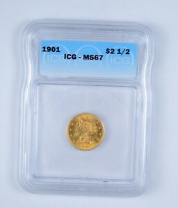 MS67 1901 $2.50 LIBERTY HEAD GOLD QUARTER EAGLE   GRADED BY ICG  9636