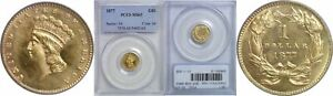 1877 $1 GOLD COIN PCGS MS 63