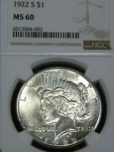 1922 S PEACE DOLLAR NGC MS60 BLAST WHITE SUPERB LUSTER PQ COIN FOR GRADE MH207