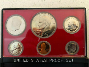 1977 PROOF SET   6 COINS   INCLUDES EISENHOWER DOLLAR AND KENNEDY HALF