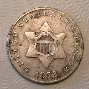 1852  US THREE 3 CENTS SILVER