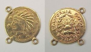 1849 CALIFORNIA CAL GOLD CHARM INDIAN HEAD ROUND 1/2 DOLLAR SIZED LOOPED